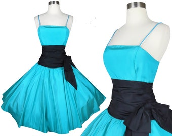 Vintage 80s 50s Prom Party Dress L Large Teal Blue Green Teal Black Taffeta Full Circle Skirt Big Bow Homecoming Dance Pinup Swing