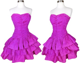 Vintage 80s Strapless PINK Purple Cocktail Party Tiered Full Skirt Prom Dress XXS XS Smocked Ruched Magenta Taffeta Womens Best Queen Tiers