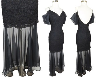 Vintage 90s Black Goth Mermaid Sheer Chiffon Mini to Maxi Grunge Witchy Prom Party Dress 1990s Moira Dark Aesthetic