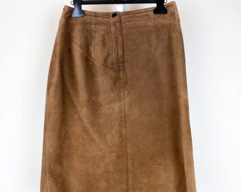 68bd2b3eae Vintage Skirt Brown Suede Straight High Waist Womens 10 S Ann Taylor 80s