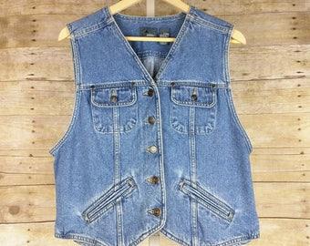 Vintage Vest Blue Denim Jean Womens L 90s Lizwear