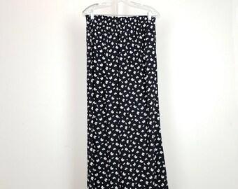 615dd9588 Vintage Pants Black White Beige Floral Print Rayon Wide Leg Women's L 90s