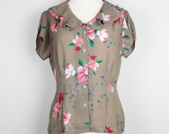 Vintage Top Light Brown Floral Print Short Sleeve Blouse Womens 8 S 80s Ms Martin