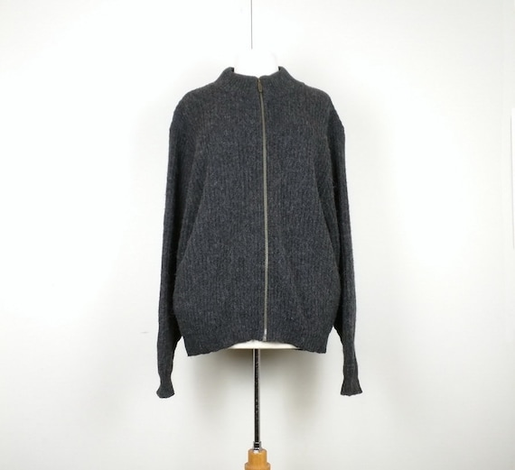 Vintage Cardigan Sweater Dark Gray Ribbed Knit Woo