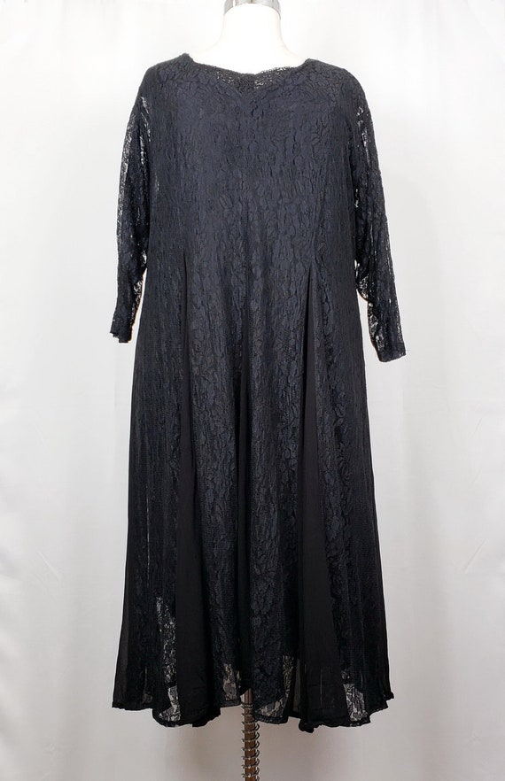 Vintage 90s Dress Black Lace Rayon Women's 2X Nost