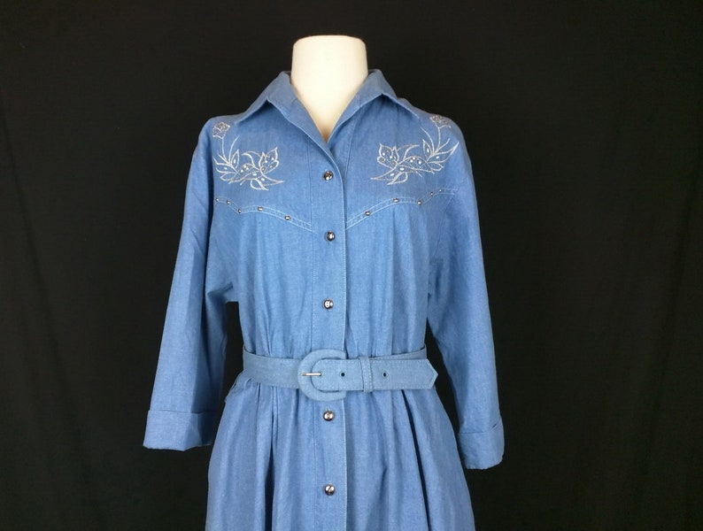 Western Dress Vintage Shirt Dress Blue Denim Silver Floral Embroidery Women/'s 10 L 80s Willi of California Cowgirl Dress