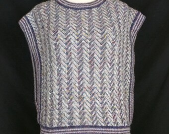 Vintage Sweater Vest Navy Blue Gray Herringbone Pattern Women's M Harrington Square