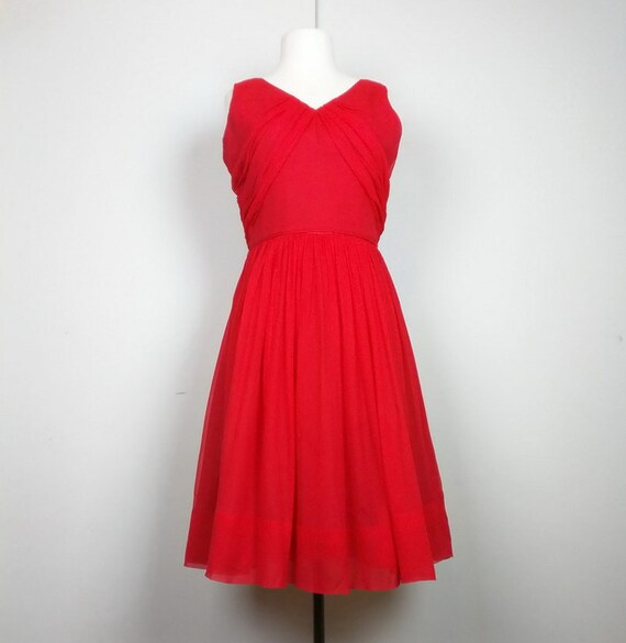 Vintage Red Party Dress Sleeveless Women's S M 50s