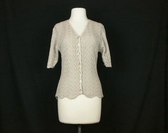 Vintage Cardigan Sweater Tan Pointelle Knit Short Sleeves Women's M 80s Precious Knits