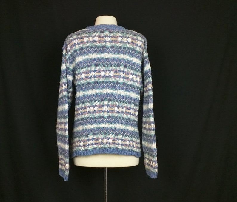 Vintage Sweater Blue Pink White Fair Isle Print Cotton Oversize Women/'s M 80s LL Bean