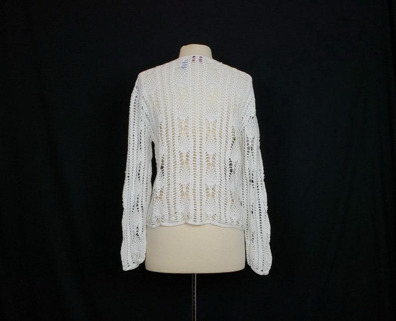 Vintage Sweater White Crochet Long Sleeve Button Front Women/'s L 90s