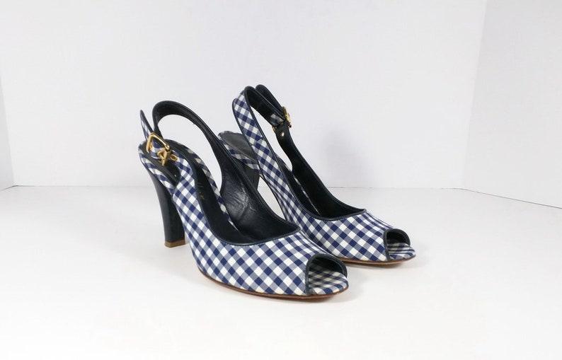 b74dff62c9a2fd Vintage Schuhe Navy blau weiß Gingham Check Damen Pumps 37 55
