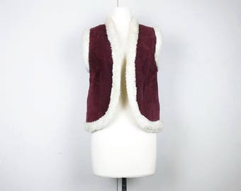 Vintage Vest Burgundy Suede Sweater Knit Faux Fur Women's S 80s Leroy Knitwear