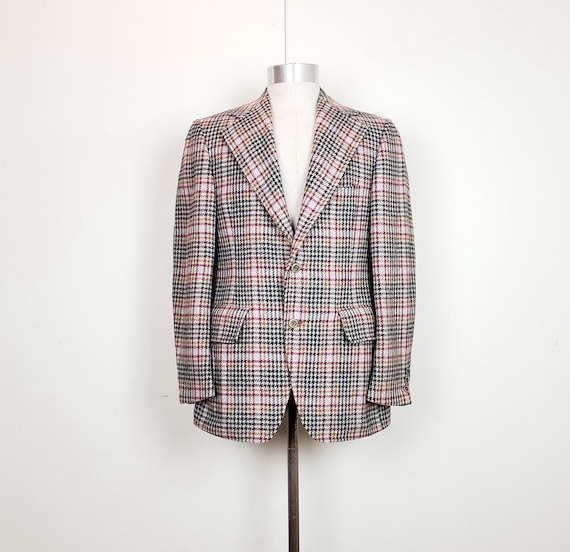 Vintage 70s Sports Coat Gray Houndstooth Plaid Woo