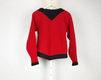 Vintage Sweater Red Black Wool Ski Women's S M 60s Avalanche Lasley Seattle
