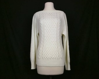 Vintage Sweater Cream Boatneck Acrylic Knit Sweater Womens M L 70s Mademoiselle Knitwear