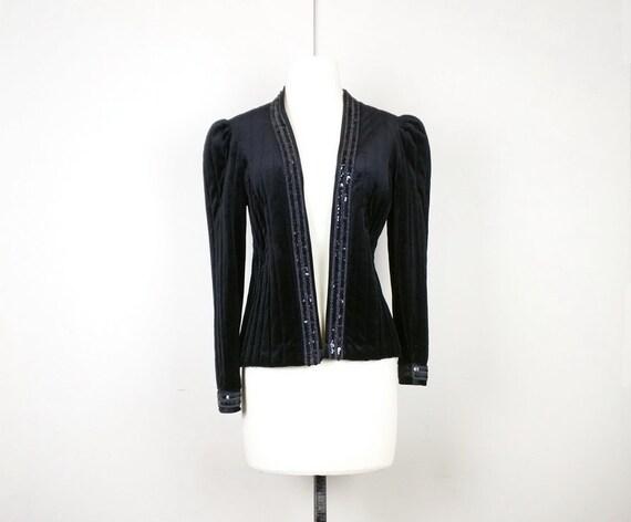 Vintage Jacket Black Velvet Puffed Shoulders Sequi