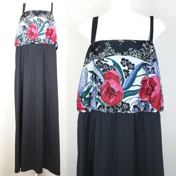 Vintage Black Floral Maxi Long Sundress 22 1/2 Plus Size XL 70s JCPenney