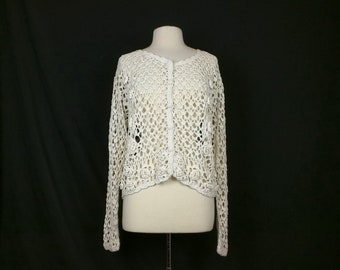 Vintage Cardigan Sweater Beige Floral Crochet Long Sleeves Women's OSFA 90s One Step Up