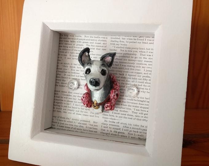 Curious Sighthound 3D Sculptural Art, Framed