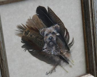 Framed Feather Painting of a Terrier Dog by Elspeth Rose