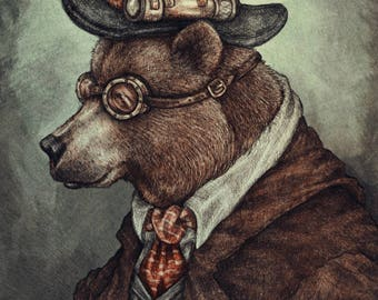Mr Teddy Bearson A4 Mounted Print of a Brown Steampunk Bear by Elspeth Rose