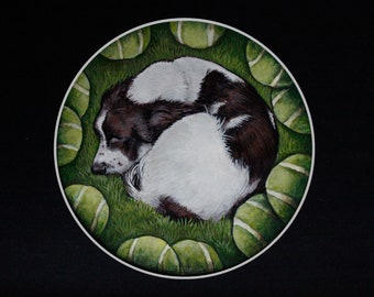 Cinnamon the Spaniel Painting on Paper with Mount