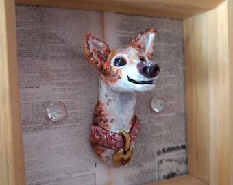 Brindle Sighthound 3D Sculptural Art, Framed