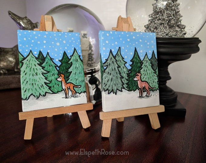 Miniature Sighthound Painted Canvas Hand Made Christmas With Wooden Easel