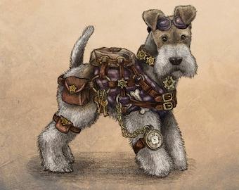 Steampunk Terrier  Mounted Print Wire Fox Terrier