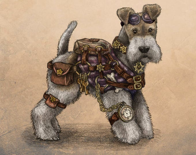Steampunk Terrier  Mounted Print Wire Fox Terrier