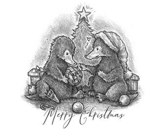 Merry Christmas Niffler Mounted Art Print