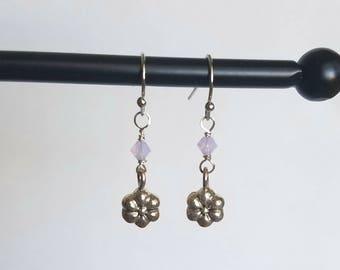 Nickel Free Silver Flower Drop Earrings With Purple Swarovski Crystals