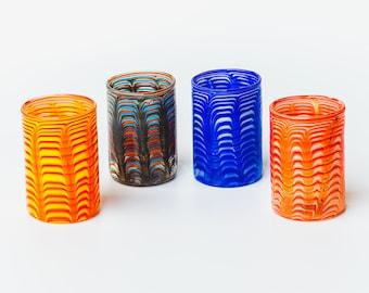 """4 Murano glass  shot glasses """"Phoenician"""" processing technique."""