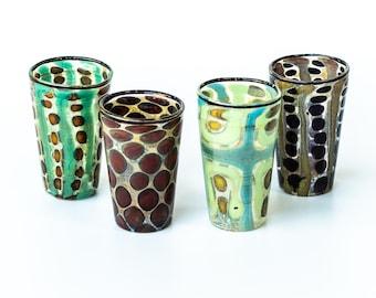 Murano glass  shot glasses. Set of 4 pieces