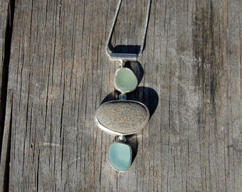 LOW TIDE...  Seaglass sterling necklace