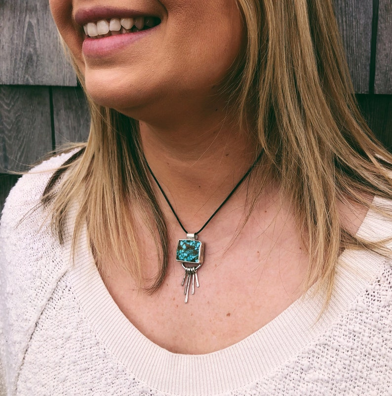 Fringe turquoise Necklace Sterling Silver Necklace Gorgeous Kingman Turquoise fringe necklace