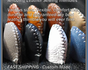 Amazing Handmade Leather Thimble (1) sewing, felting, needle art, crafts. Fast shipping! Med. weight ANY COLOR Available! Free Thimble Saver