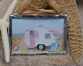 Vintage Camper watercolor ornament- christmas , coastal holiday, beach camper, glamping,soldered glass