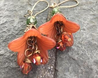 Vintage lucite  and Vintaj Brass, Czech Glass Beads Flower Dangle Earrings  Boho Jewelry  Flower Earrings originally 32 dollars now 16 sale