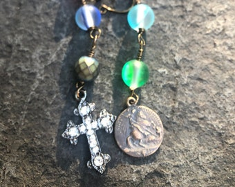 Anglican Chaplet Bracelet  Protestant Prayer Bead Bracelet   Mermaid Glass Beads  Episcopal Chaplet Bracelet   Tween or Teen Girl Gift