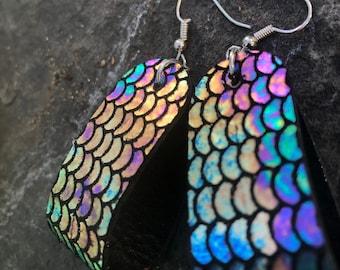 Mermaid Leather Hoop Earrings   Lightweight statement earrings   Gift for Her   Genuine Leather Hoop Earrings Valentine Gift