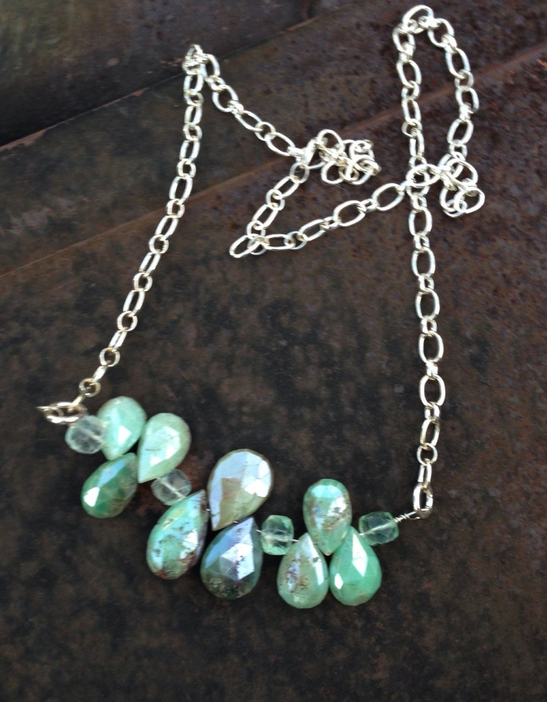 Chocolate Mint Mystic Chrysoprase and Florite Sterling Silver Chain Necklace   Teardrop Briolette Bar Necklace orig 110 dollars now 88 sale