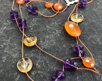 Citrine, Carnelian and Amethyst on hand knotted silk cord  Gemstone necklace  Boho  Sundance Style  Citrine Necklace  Amethyst Necklace