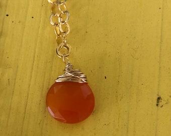 Orange Chalcedony Briolette on 14k gold filled chain Necklace Minimalist Necklace