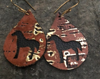 Black and Rustic Brown Wildwood Teardrop Leather Horse Dangle Earrings   Horse  Lover Jewelry Western Cowgirl Chic  Equestrian  Western Boho