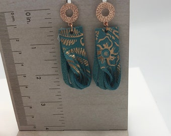 Rose Gold and Turquoise Twisted Leather Hoop Earrings   Genuine Leather Hoop Earrings  Twisted Hoop Earrings  Southwestern Boho Jewelry