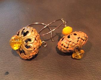 Tangerine Patina Copper Filigree Dangle Earrings  Gypsy Earrings   Moroccan  Wedding Jewelry  Boho,