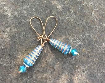 Aqua Beehive Czech Glass and Swarvoski Crystal  Dangle Earrings   Blue Earrings   Boho Jewelry  Product Id: ABH417