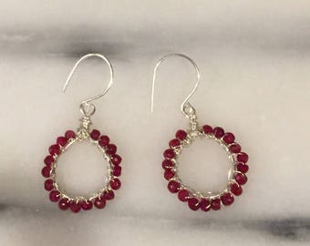 Ruby Gemstone and Hand forged Sterling Silver Wire Wrapped Hoop Earrings    Genuine Ruby July Birthstone orig 96 dollars now 76 sale